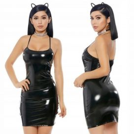 Lateksowa sukienka mini